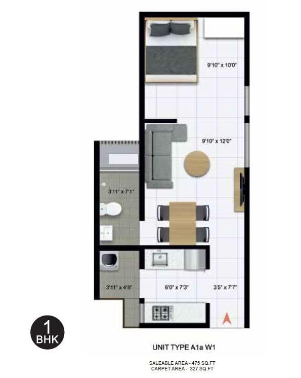 Icon Nest 3-1BHK Floorplan