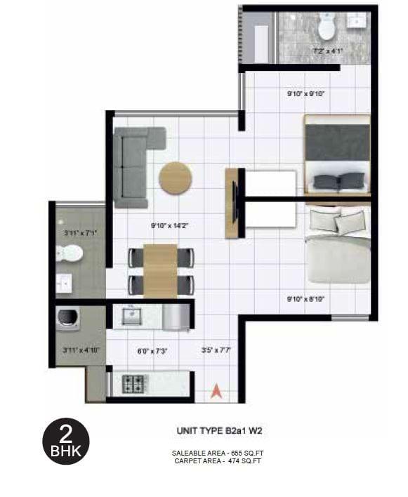 Icon Nest 3-2 BHK 655 Floorplan