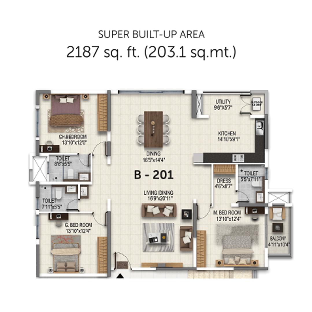 Salarpuria Sattva Magnificia 3 BHK 2187 Sqft Floorplan