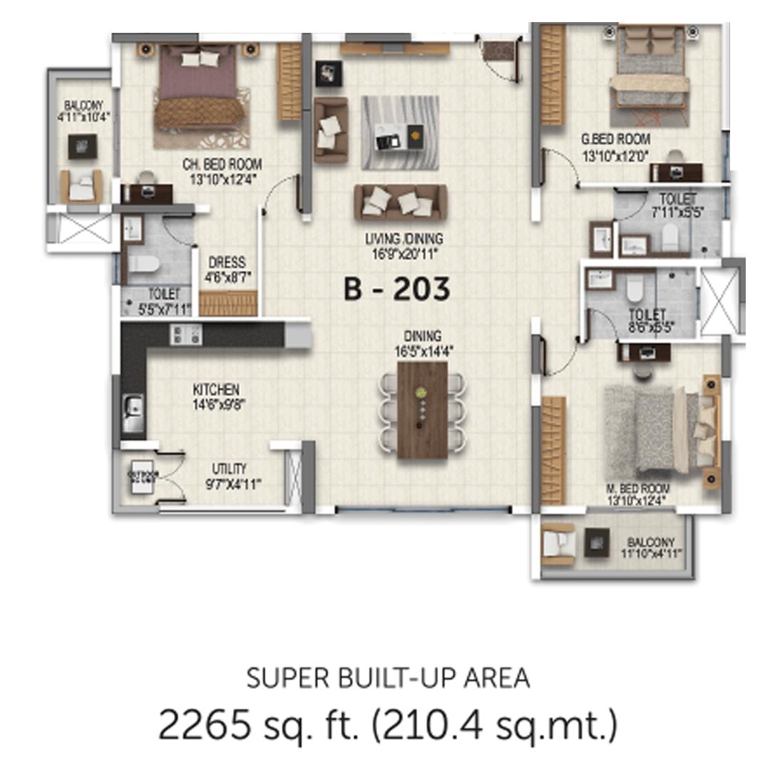 Salarpuria Sattva Magnificia 3 BHK 2265 Sqft Floorplan