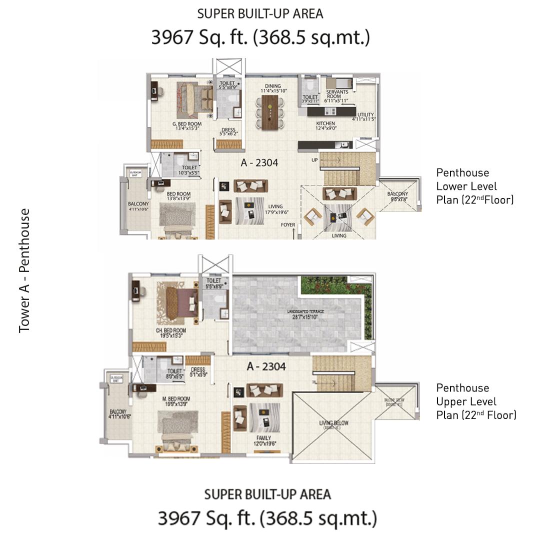 Salarpuria Sattva Magnificia 4 BHK 3967 Sqft Floorplan