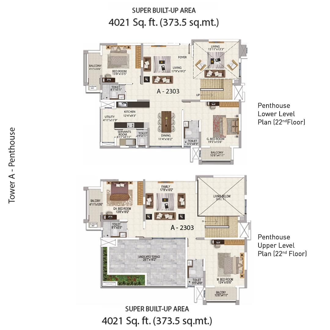 Salarpuria Sattva Magnificia 4 BHK 4021 Sqft Floorplan