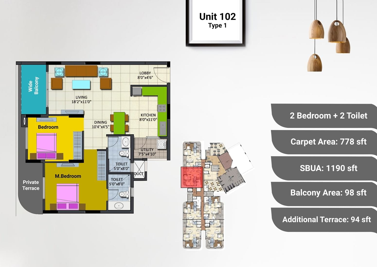 Sipani Pennantia 2 BHK Floorplan 1190 sqft