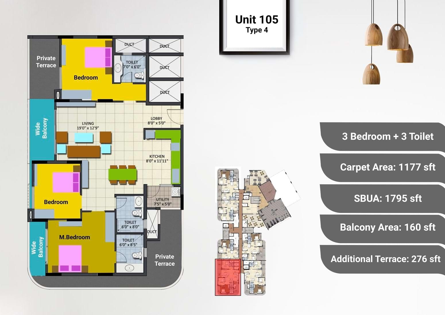 Sipani Pennantia 3 BHK Floorplan 1795 sqft