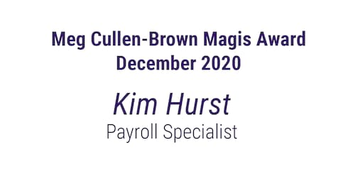 December Meg Cullen-Brown Magis Award banner image