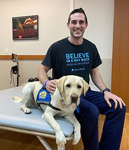 Peter DeLong '14, G'15: Every Day is 'Bring Your Dog to Work Day' for OT Graduate