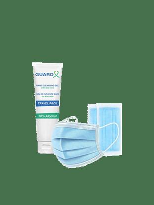 Imagine Pachet Mască chirurgicală de unică folosință clasa I, tip IIR, 50 de bucăți + GUARD X Uno Travel Pack, Gel de curățare maini