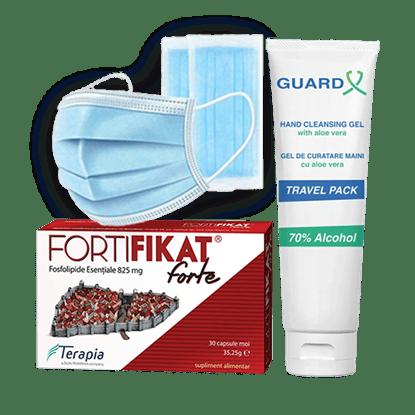 Imagine Pachet Fortifikat Forte - fosfolipide esențiale + GUARD X Uno Travel Pack, Gel de curățare maini + Set 50 măști medicale de unică folosință, 3 straturi, 3 pliuri