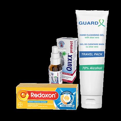 Imagine Pachet REDOXON Triple Action + GUARD X Uno Travel Pack, Gel de curățare maini + Quixx Protect