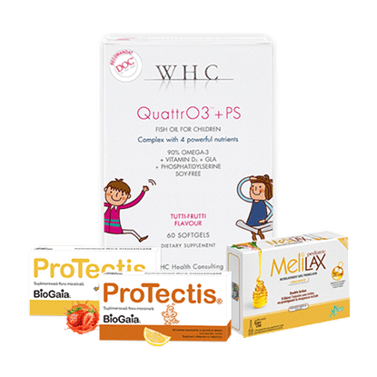 Imagine Pachet ProTectis, supliment alimentar probiotic, căpșuni + WHC-QUATTR03+PS + Microclisme MeliLax Pediatric, soluție inovatoare împotriva constipației