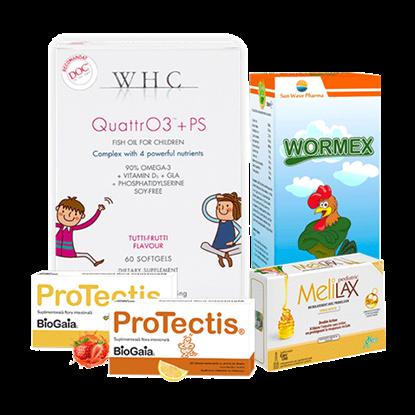 Picture of Bundle ProTectis, supliment alimentar probiotic, căpșuni + WHC-QUATTR03+PS + Microclisme MeliLax Pediatric, soluție inovatoare împotriva constipației + Wormex