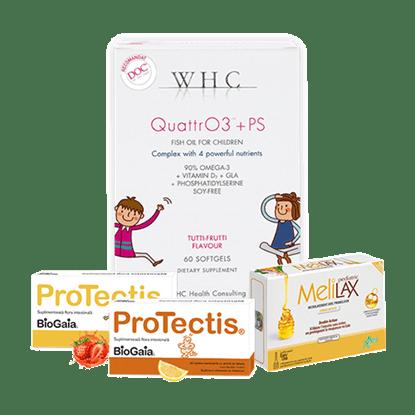 Imagine Pachet ProTectis, supliment alimentar probiotic, lămâie + WHC-QUATTR03+PS + Microclisme MeliLax Pediatric, soluție inovatoare împotriva constipației