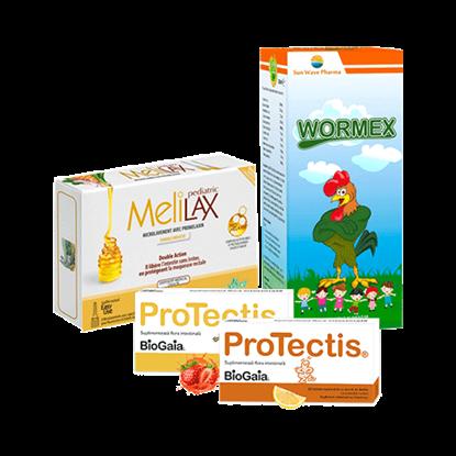 Imagine Pachet ProTectis, supliment alimentar probiotic, lămâie + Microclisme MeliLax Pediatric, soluție inovatoare împotriva constipației + Wormex