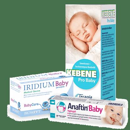 Imagine Pachet Kebene Pro Baby + Șervețele sterile Iridium Baby, antiinflamatorii și antimicrob + Gel gingival pentru erupții dentare Anaftin ® Baby-Gel
