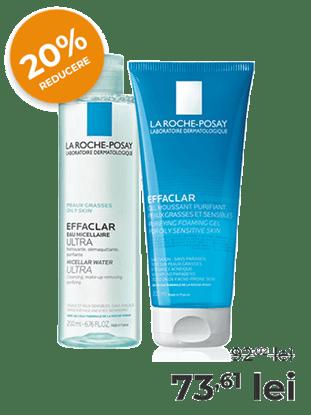 Imagine Pachet Apă micelară Ultra Effaclar Mat, recomandată pentru ten gras + Gel spumant purifiant pentru piele grasă și sensibilă La Roche-Posay Effaclar