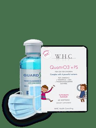 Imagine Pachet WHC-QUATTR03+PS + GUARD X Duo Travel Pack Gel de curățare maini + Set 50 măști medicale de unică folosință, 3 straturi, 3 pliuri