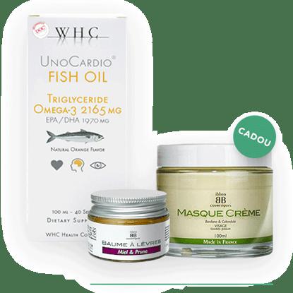 Immagine di Lotto UnoCardio Fish Oil + Balsam de buze Organo-Cosmetic + Mască pentru față Organo-Cosmetică