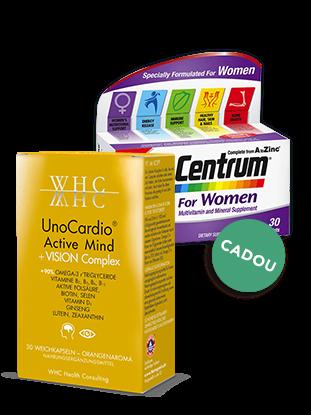 Imagine Pachet WHC-UNOCARDIO ACTIVE MIND + CENTRUM pentru Femei